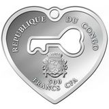 500 франков 2017, серебро (Ag 925) | Ключ к сердцу — Конго, фото 1