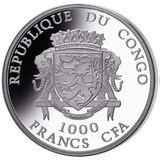 1000 франков 2019, серебро (Ag 925) | Год Свиньи 3D — Конго, фото 1