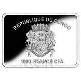 1000 франков 2018, серебро (Ag 925) | Собака с ёлкой — Конго, фото 1