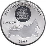 20 квача 2009, серебро (Ag 999) | Банковский мост — Малави, фото 1