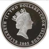 2 доллара 2005, серебро (Ag 925) | Попугай — Острова Кука, фото 1