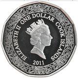 1 доллар 2011, серебро (Ag 925) | Розы — Острова Кука, фото 1