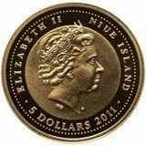 5 долларов 2012, золото (Au 999) | Дракон — Ниуэ, фото 1