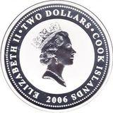 2 доллара 2006, серебро (Ag 925) | Аубурн — Острова Кука, фото 1