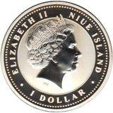 1 доллар 2007, серебро (Ag 925) | Свинья на изобилие — Ниуэ, фото 1