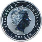 1 доллар 2008, серебро (Ag 925) | Крыса на счастье — Ниуэ, фото 1