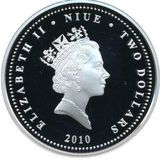 2 доллара 2010, серебро (Ag 925) | Троллейбус — Ниуэ, фото 1