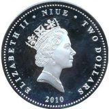 2 доллара 2010, серебро (Ag 925) | Трамвай — Ниуэ, фото 1