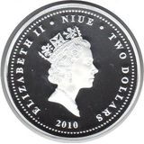 2 доллара 2010, серебро (Ag 925) | Метро — Ниуэ, фото 1