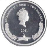 2 доллара 2011, серебро (Ag 925) | Победа — Ниуэ, фото 1