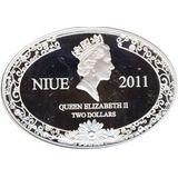 2 доллара 2011, серебро (Ag 925) | Семья аистов — Ниуэ, фото 1