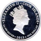 1 доллар 2013, серебро (Ag 925) | Белый медведь  — Острова Кука, фото 1