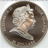 20 долларов 2008, серебро (Ag 925)   Сотворение Адама — Острова Кука, фото 1