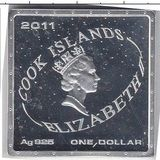 1 доллар 2011, серебро (Ag 925) | Полёт в космос — Острова Кука, фото 1