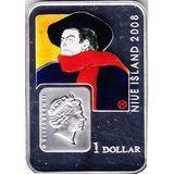 1 доллар 2008, серебро (Ag 925) | Анри де Тулуз-Лотрек — Ниуэ, фото 1