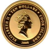 10 долларов 2008, золото (Au 999)   Лебеди — Острова Кука, фото 1