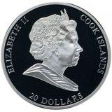 20 долларов 2010, серебро (Ag 925)   Подсолнухи  — Острова Кука, фото 1