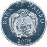 10 долларов 2008, серебро (Ag 925) | Новогодняя — Науру, фото 1