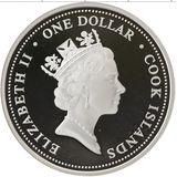 1 доллар 2004, серебро (Ag 925) | Паровоз — Острова Кука, фото 1