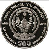 500 франков 2014, серебро (Ag 925) | Лошадь объёмная — Руанда, фото 1