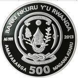 500 франков 2013, серебро (Ag 925) | Змея объёмная — Руанда, фото 1