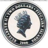2 доллара 2008, серебро (Ag 925) | Крысёнок — Питкерн, фото 1