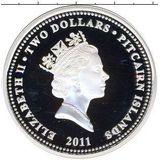 2 доллара 2011, серебро (Ag 925) | Кролик из Страны Чудес — Питкерн, фото 1