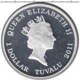 1 доллар 2011, серебро (Ag 999) | Паук  — Тувалу, фото 1