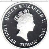 1 доллар 2011, серебро (Ag 999) | Осьминог  — Тувалу, фото 1