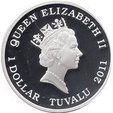1 доллар 2011, серебро (Ag 999) | Акула  — Тувалу, фото 1