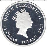 1 доллар 2011, серебро (Ag 999) | Бигль  — Тувалу, фото 1