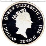 1 доллар 2011, серебро (Ag 999) | Овчарка  — Тувалу, фото 1