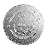 100 долларов 2008, серебро (Ag 999) | Еврофутбол (серебряная часть набора) — Либерия, фото 1