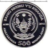 500 франков 2010, серебро (Ag 925) | Дельфин — Руанда, фото 1