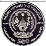 500 франков 2010, серебро (Ag 925) | Черепаха — Руанда, фото 1