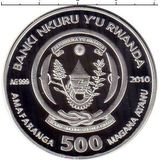 500 франков 2010, серебро (Ag 925) | Рыба-клоун — Руанда, фото 1