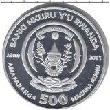 500 франков 2011, серебро (Ag 925) | Кролик на снегу — Руанда, фото 1