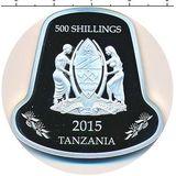500 шиллингов 2015, серебро (Ag 925) | Коза-колокольчик — Танзания, фото 1