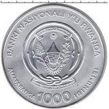 1000 франков 2007, серебро (Ag 925) | Слон — Руанда, фото 1
