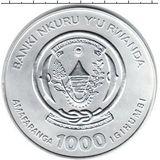 1000 франков 2008, серебро (Ag 925) | Африканский лев — Руанда, фото 1