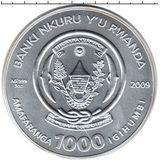 1000 франков 2009, серебро (Ag 925) | Козерог — Руанда, фото 1