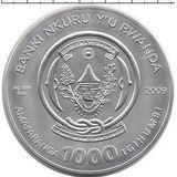 1000 франков 2009, серебро (Ag 925) | Телец — Руанда, фото 1