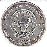 1000 франков 2009, серебро (Ag 925) | Близнецы — Руанда, фото 1