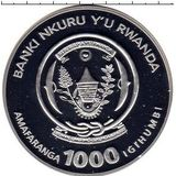 1000 франков 2010, серебро (Ag 925) | Тигр — Руанда, фото 1