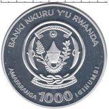 1000 франков 2009, серебро (Ag 925) | Королевская цапля — Руанда, фото 1