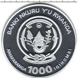 1000 франков 2010, серебро (Ag 925) | Жираф — Руанда, фото 1