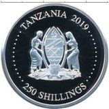 250 шиллингов 2019, серебро (Ag 925) | Свинья с клевером — Танзания, фото 1