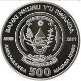 500 франков 2011, серебро (Ag 925) | Кролик с крольчонком — Руанда, фото 1